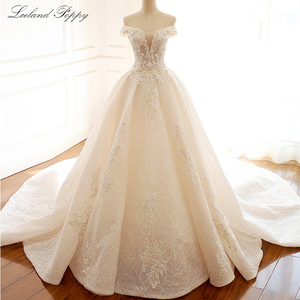 Image 1 - Lceland Poppy Luxury Off the Shoulder A line Wedding Dresses 2020 Sleeveless Vestido de Novia Beaded Bridal Gowns with Flowers