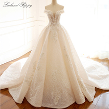 Lceland robe de mariée ligne a, robe de mariée luxueuse, sans manches, épaules dénudées, perlée, avec fleurs, 2020