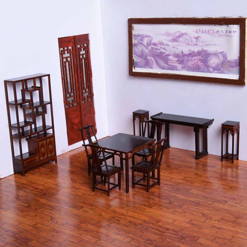 2pcs 1:25 Simulation Mini Dollhouse Accessories Chinese Style Furniture Wooden Table Chair Model Indoor Pretend Play Toys Life