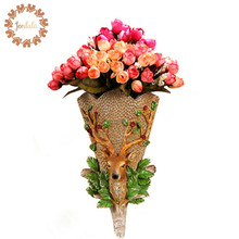 Creative Elegant Hand Painted Elk MILU Deer Swan Wall decoration Hanging Vase Hook Resin Home Wall Accessories