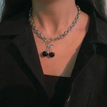 Ожерелье с подвеской в виде черной вишни из титановой стали в стиле Харадзюку для женщин и девушек, цепочка с подвеской в виде фруктов, чокер...