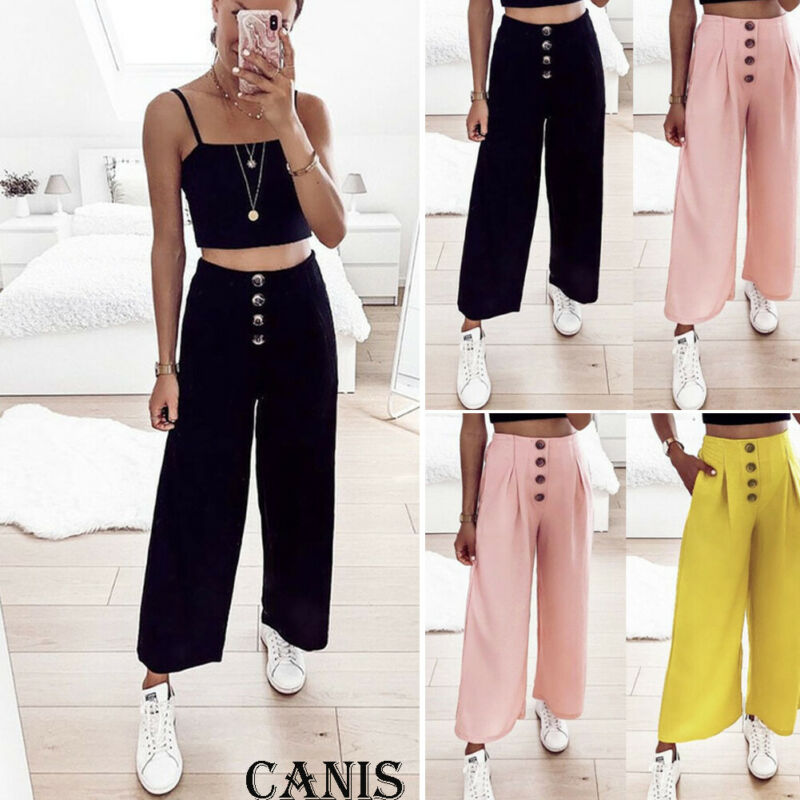 Women's Button Wide Leg Flared Pants High Waist Casual Palazzo Loose Trousers Flat Autumn Lady Pants Ladies Party Pants Hot