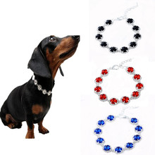Delicate Design Pet Dog Crystal Rhinestone Collar Elegant Bling Shiny Cat Necklace Adjustable Wedding Small Dogs