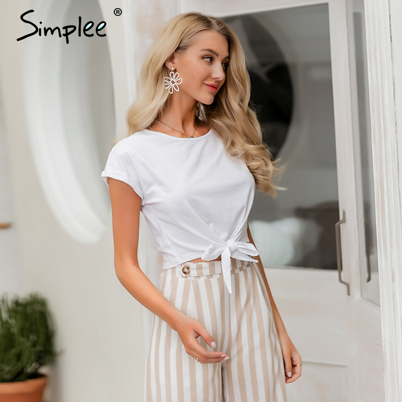 Simplee Sexy Women T Shirt Tops Spring Summer Female Cotton Top Shirts Elegant Party Club Ladies Tied White Solid T-shirt 2020