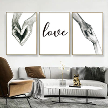 Canvas Painting Pictures Nordic Posters Wall-Art Corridor Love-Holding-Hands Living-Room