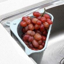 Kitchen Triangular Sink Strainer Drain Vegetable Fruits Drainer Basket Suction Cup Sponge Rack Storage Tool Sink Filter Shelf
