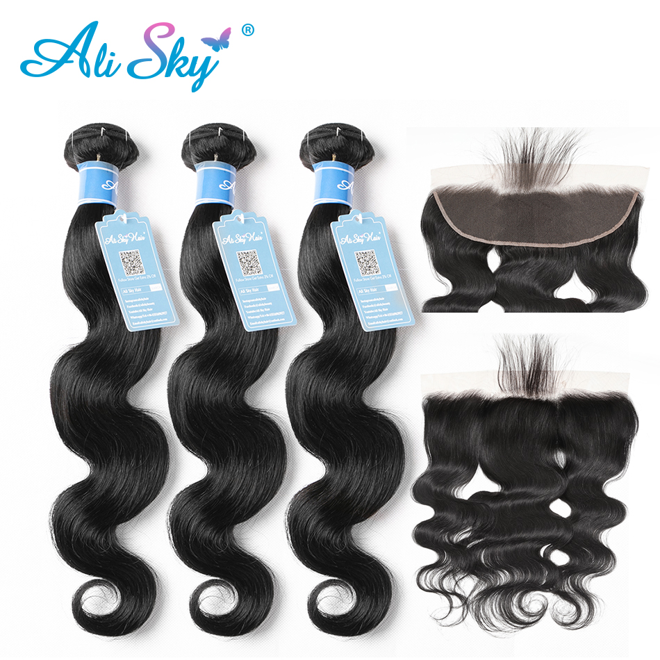 Ali Sky 3 Bundles With 13x4 Top Lace Frontal Brazilian Body Wave 100% Human Hair Pre Plucked With Baby Hair Remy