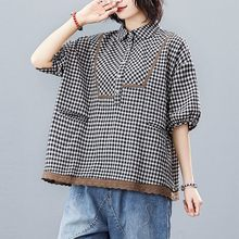 Oversized Women Cotton Linen Casual Shirts New Arrival 2021 Summer Korean Simple Style Vintage Plaid Loose Female Tops S3316