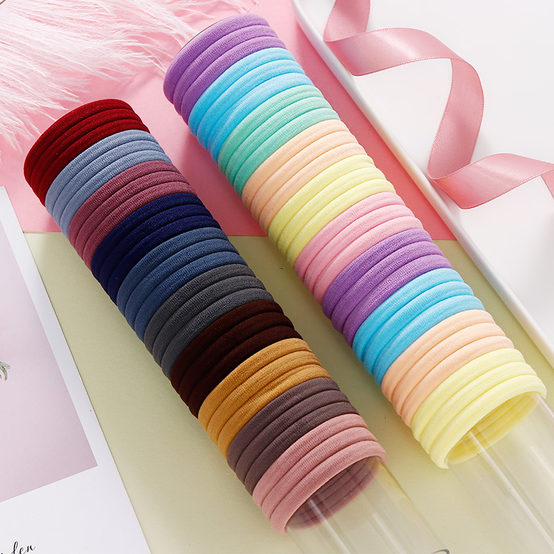 50/100PCS/Set Women Girls 4CM Colorful Nylon Elastic Hair Bands Ponytail Holder Rubber Bands Scrunchie Headband Hair Accessories
