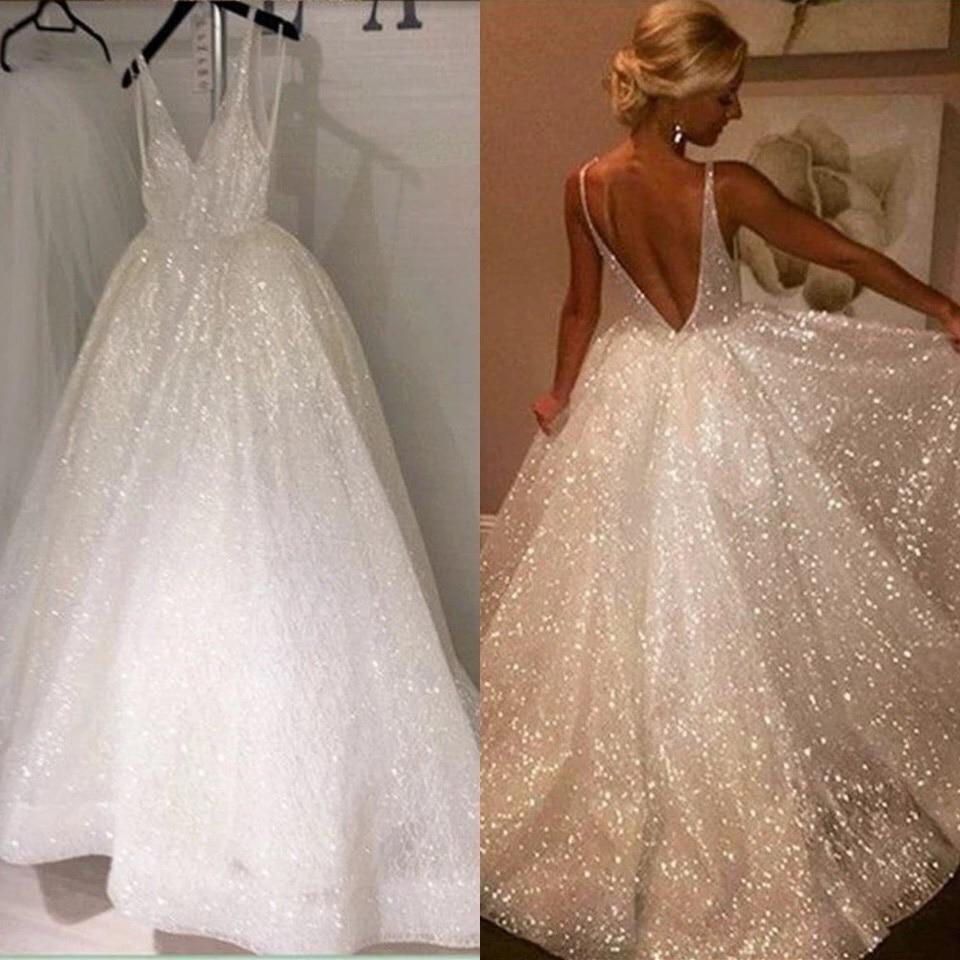 Shiny Tulle A-line Wedding Dresses 2019 Open Back V neckline Wedding Gowns Women Bridal Dresses Custom made