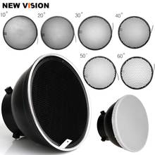 7inch 18cm Standard Reflector Diffuser with 10/20/30/40/50/60 Degree Honeycomb Grid for Bowens Mount Studio Light Strobe Flash