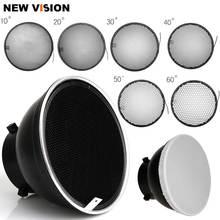 Difusor Reflector estándar de 7 pulgadas, 18cm, con rejilla de nido de abeja de 10/20/30/40/50/60 grados para Flash estroboscópico de luz de estudio de montaje Bowens