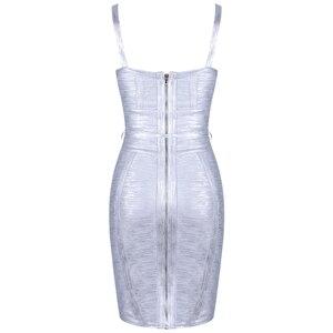 Image 5 - Ocstrade New 2019 Autumn Winter Women Tie Waist Metallic Sexy Bandage Dress Silver Bandage Dress Bodycon Club Party Dress