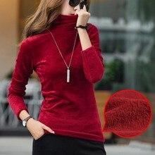 Camiseta de lã veludo com gola alta, feminina, cor sólida, elástica, manga comprida, plus size S-4XL, primavera/outono, t90394