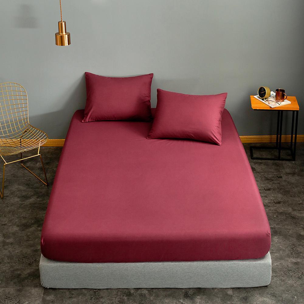 Bonenjoy 1pc Black Color Fitted Sheet Single/Queen/King Size drap de lit Bed Sheet Sets Solid Double Bed Sheets (no Pillowcase) 11