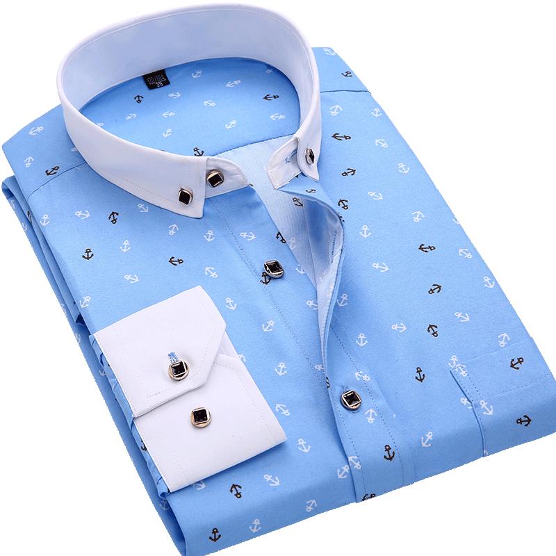 H1749c33f6a7d45c3939a24f26015d4a06 Men Shirt Long Sleeve Floral Printing Plaid Fashion Pocket Casual Shirts 100% Polyester Soft Comfortable Men Dress Shirt DS375