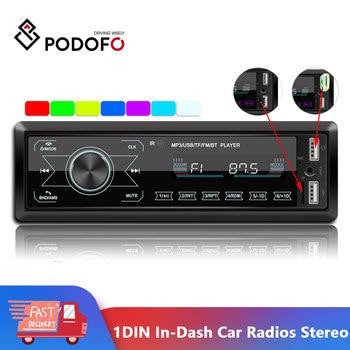 Podofo Autoradio 12V 1din Car Radio Bluetooth Car Stereo In-Dash Car Audio Phone AUX-IN FM/USB/Radio Remote Control MP3 Player