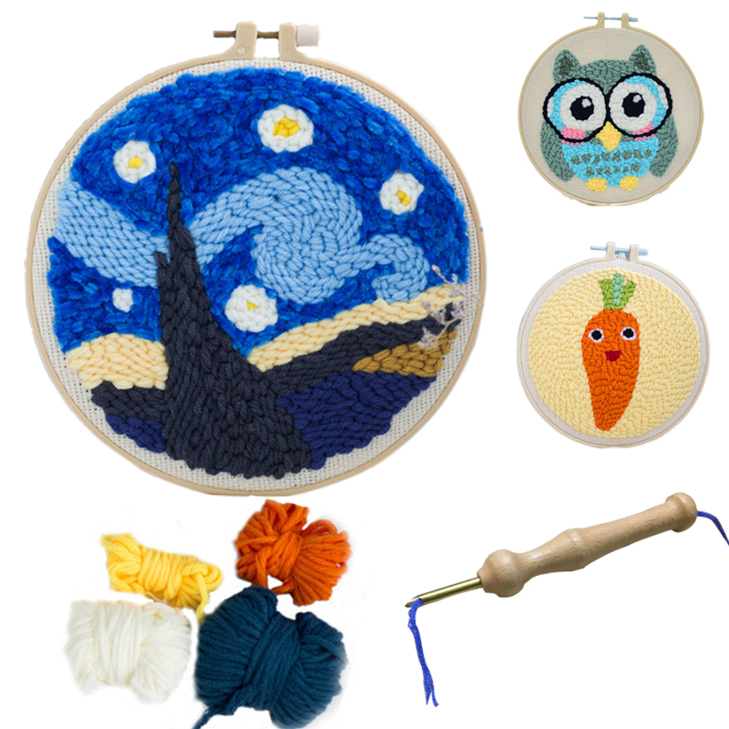 New DIY Material Kit Handmade Wool Embroidery Handicraft Toy Art Craft Toy Poke Poke Painting Kids Children Gift