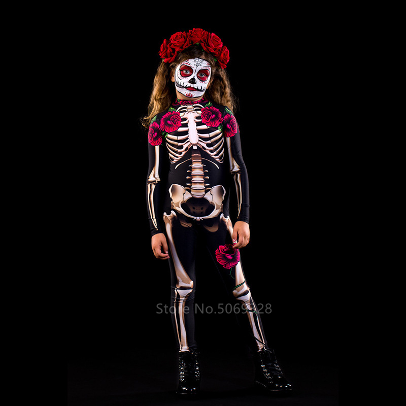 H1749de2f6aa845f1b36221635bf13038L - Skeleton Rose Sexy Women Halloween Devil Ghost Jumpsuit Party Carnival Performance Scary Costume Kids Baby Girl Day Of The Dead