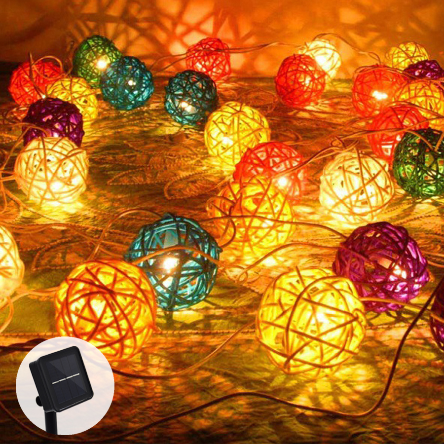 Solar String Lights Garland Rattan Light String Outdoors 20 LED Garden Christmas Wedding Lights Party Decoration
