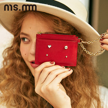 MS.MM Genuine Leather Diamond Card Wallet Fashion Card Holder with Chain Mini Coin Purse Organizer Ladies Purse Women Wallet(China)