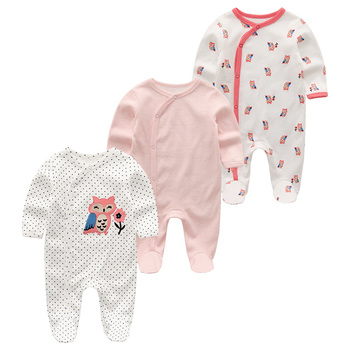 0-12Months Baby Rompers Newborn Girls&Boys 100%Cotton Clothes of Long Sheeve 1/2/3Piece Infant Clothing Pajamas Overalls Cheap - Baby Rompers RFL3205, 12M