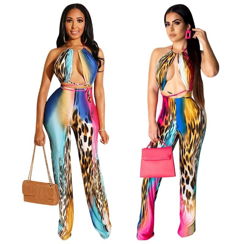 Nice Leopard Print Women Jumpsuit Hollow Out Halter Backless Overalls Streetwear Off Shoulder Playsuit