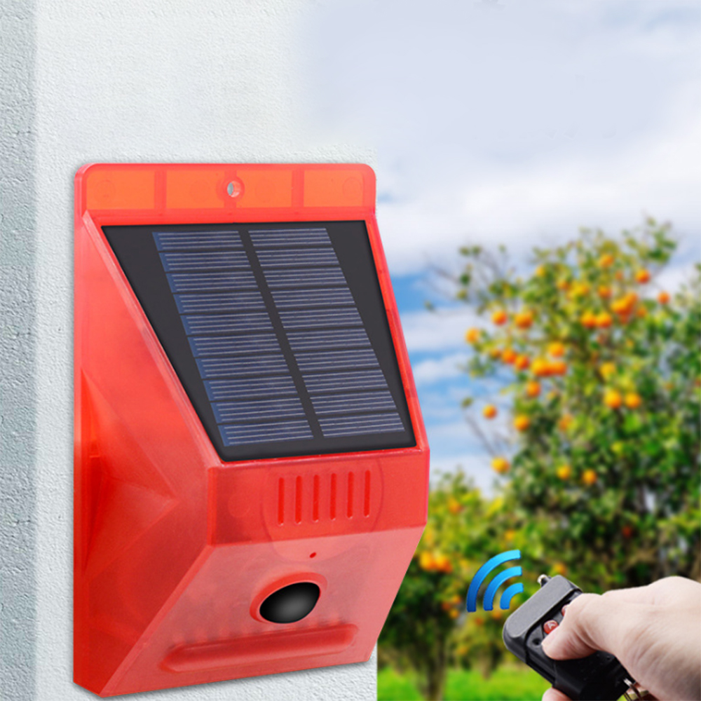 Solar Sound Alert Flash Warning Sound Light Alarm Motion Sensor Siren Strobe Security Alarm System For Farm