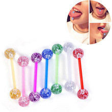 5 PCS/Lot Mix Color Tongue Barbell Ring Acrylic Uv Piercing Wholesale Grills Jewelry Cartilage