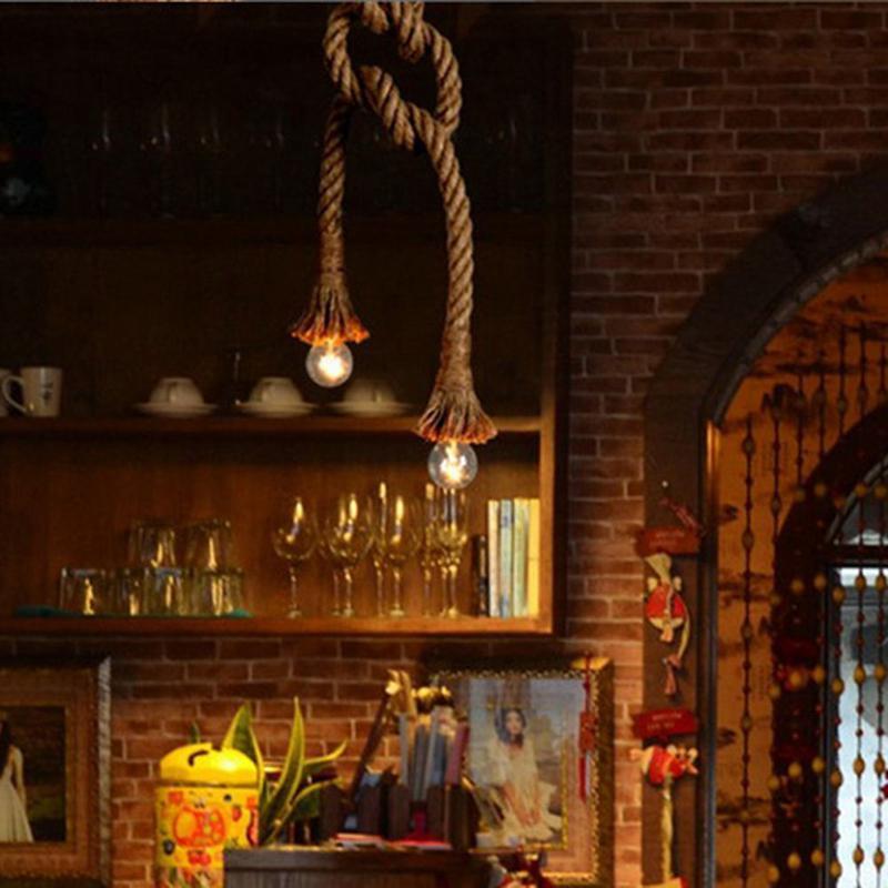 H174a493c66f841cc8676b3cb248bcbe8l 1M Vintage Rustic Hemp Rope Ceiling Chandelier Wiring E27 220V Pendant Lamp Hanging Lights for Living Room Bar Decor