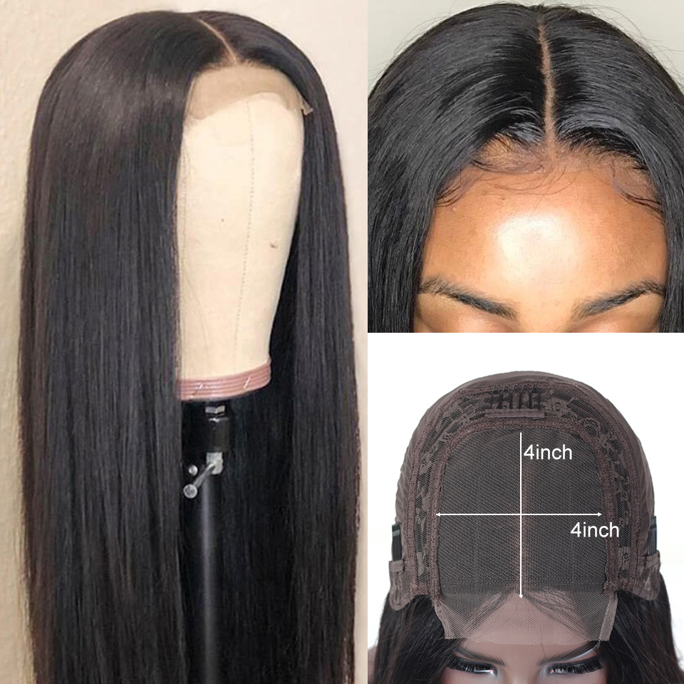 Alishes Brazilian Straight Closure Wigs For Black Women 4x4 Lace Closure Wig Human Hair Wigs 150% Density 10-26 inch Remy Hair