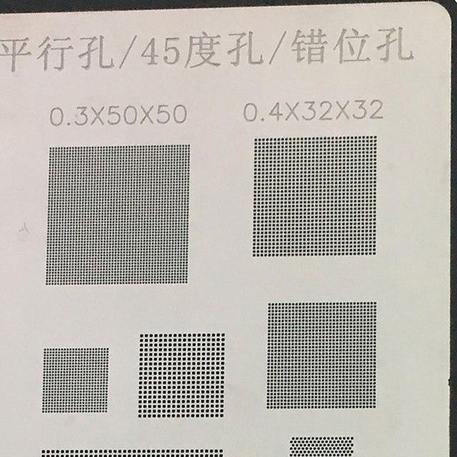 Amaoe  BGA Reballing soldering stencils 0.3 0.35 0.4 0.5 parallel 45 degree hole/misaligned hole Universal BGA Reballing Stencil 2