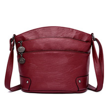 Bandolera de cuero multicapa para mujer, bolso cruzado pequeño de diseñador, de mano