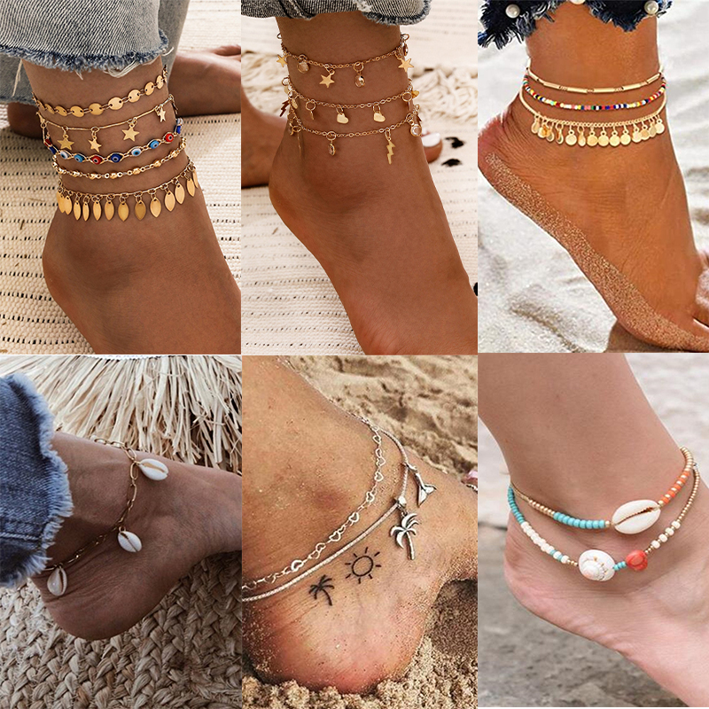 Boho Multilayer Gold Lightning Leafs Foot Bracelets Set for Women Vintage Multicolor Bead Beach Anklet Bohemian Female Jewelry