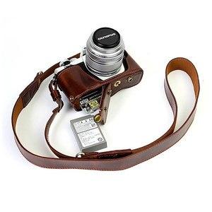 Image 3 - Lüks deri kılıf kapak Olympus EM10 II EM10 III E M10 Mark II Mark III 14 42mm Lens pil açılış ile kamera çantası askısı