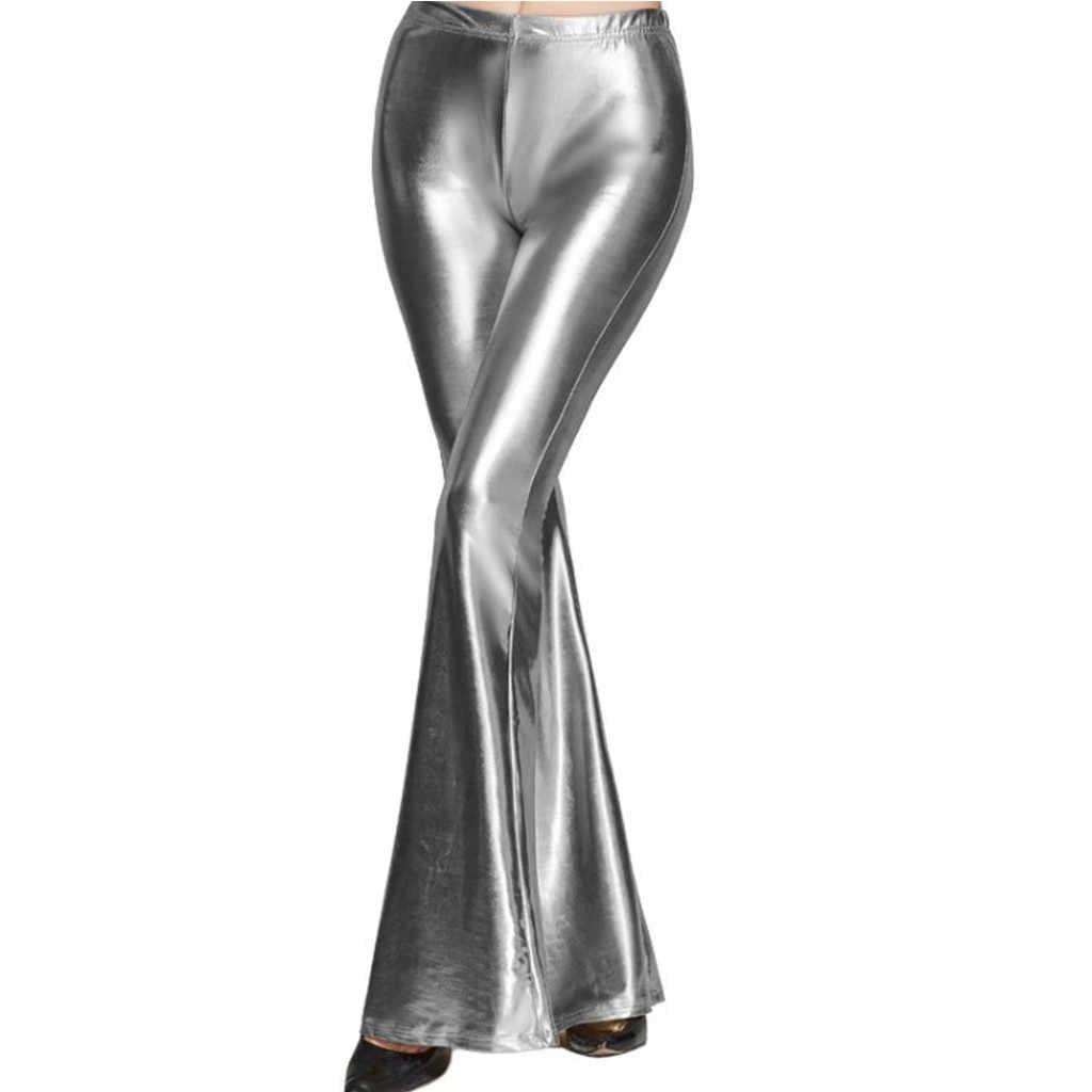 패션 여성 플레어 반짝이 장식 조각 레깅스 단색 높은 허리 벨 바닥 바지 디스코 바지 레이디 Drawstring 바지