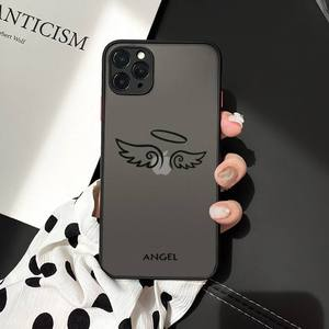 Image 5 - Friends Demon Angel Wing Couple BFF Cartoon Phone Case For iphone 12 11 7 8 plus mini x xs xr pro max matte transparent cover