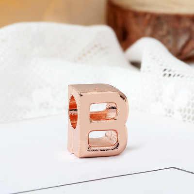 2019 nowy 1pc różowe złoto A-Z pierwsza litera alfabetu diy koralik pasuje pandora charms bransoletka dla kobiet mężczyzn biżuteria EL200