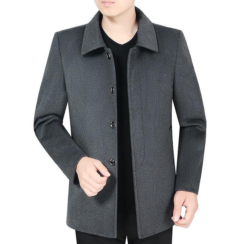 Autumn Early Winter Wool Blend Coat Elegant Black Gray Woolen Tweed Jackets Turn Down Collar Single-breasted Overcoat Plus Size