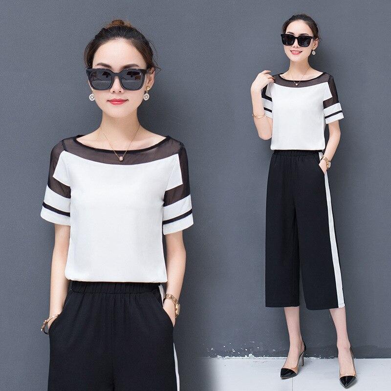 Fashion WOMEN'S Suit 2018 Summer Wear New Style Playful Western Style WOMEN'S Short Sleeve Shirt Chiffon Loose Pants Two-Piece S