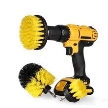 2/3/4/5 Kit di spazzole per trapano elettrico per spazzole di lavaggio strumento di spazzola per pulizia rotonda in plastica per spazzole per tappeti pneumatici per auto Nylon di vetro