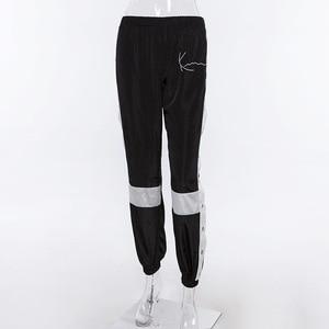 Image 5 - Houzhouジョギング女性パンツファッションパッチワークスウェットパンツハーレムカジュアルサイドスプリットボタンpanelledハイウエストズボンストリート