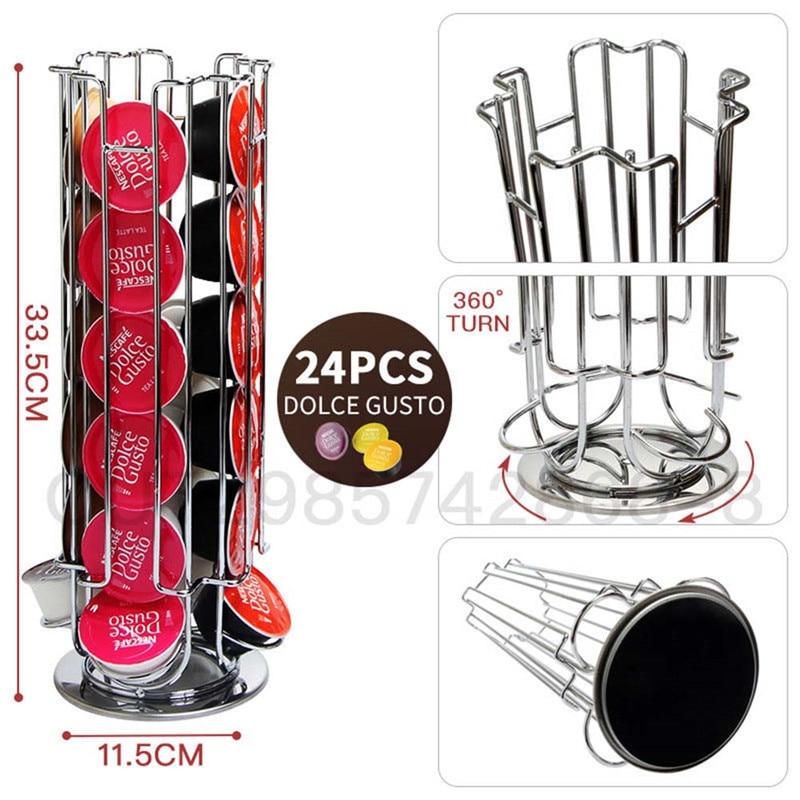 Dolce Gusto-support de stockage 24 pièces, présentoir rotatif pour dosettes de café, support délectrodéposition, capsules noir, grande capacité, 2020
