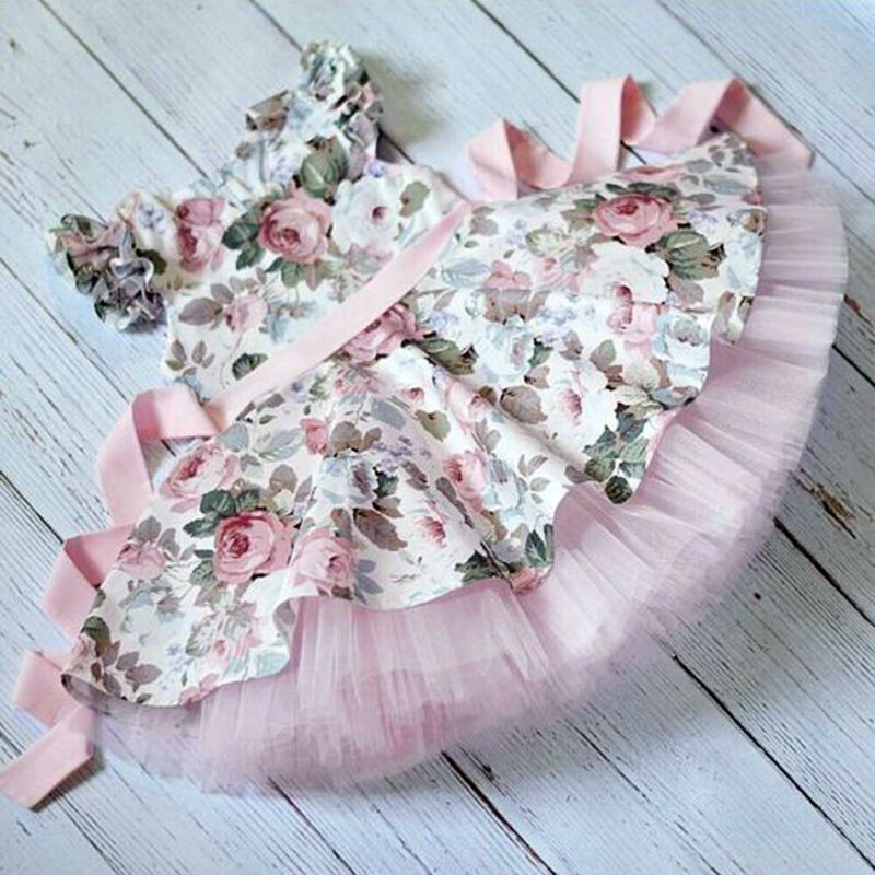 Toddler Kid Girl Princess Lace Flower Tutu Dress Sleeveless Party Sundress Cloth