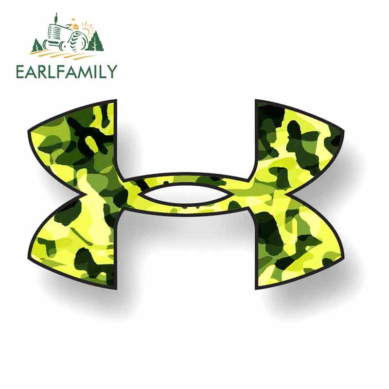 EARLFAMILY 13cm X 8.5cm For UNDER ARMOUR Decal Sticker Vinyl Camo Logo Car Truck Window Sports Fishing Green Waterproof Decor