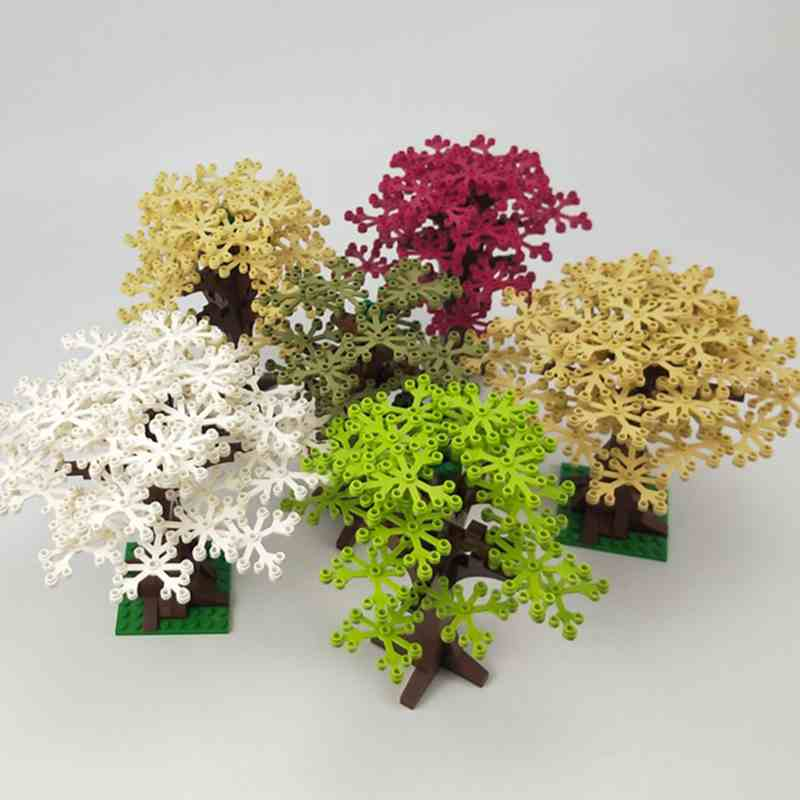 Creator City World Tree With Base Plate My world Series Building Blocks Kid Toy Figures White Green Leaves Village Creators City(China)