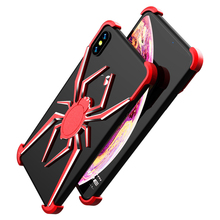 Aluminum Alloy metal 3D Stereoscopic Red Spider Mobile Phone Protective Frame Cooling Cell Phone Case For iPhone X XS XR XSMAX protective anti radiation aviation aluminum alloy bumper frame case for iphone 5 5s golden