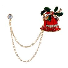 Fashion Cute Enamel Christmas Bell Brooches For Women 2020 Christmas Brooch Jewelry New Year Gift imitation pearls christmas tree brooch pin women fashion rhinestone brooches xmas new year gift