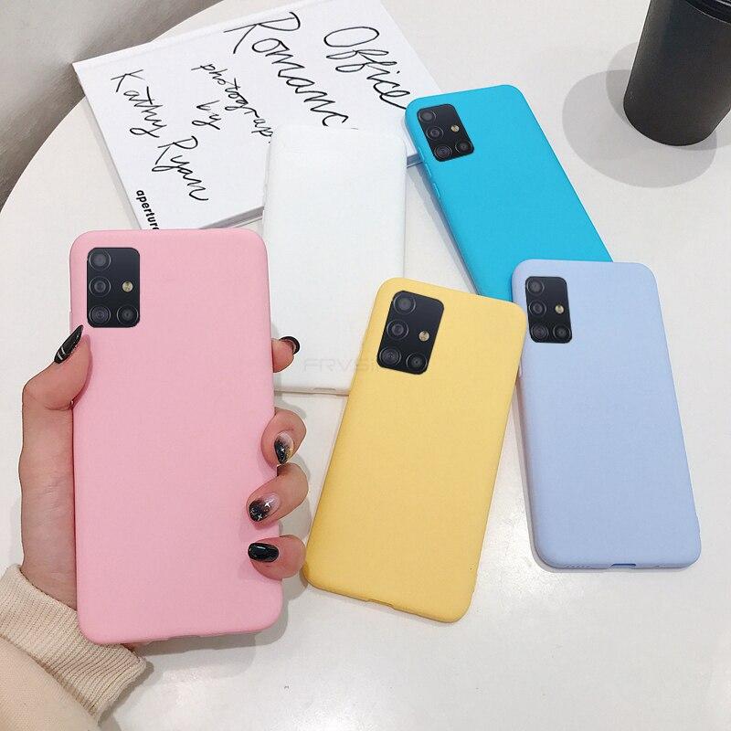 Soft Silicone Case For Samsung Galaxy A71 A51 4G 5G A01 A11 A21S A41 A31 M11 M21 M51 Matte TPU Cover