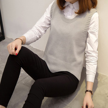 Knitted Sweater  Fashion Autumn Vest Women V-neck solid Loose Sleeveless Tank Tops Solid Pullover
